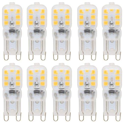 10 Stück Dimmbar G9 LED Lampe 2.5W AC 220-240V Warmweiß 3000K 14x2835 SMD mit PC Mantel 360° Abstrahlwinkel