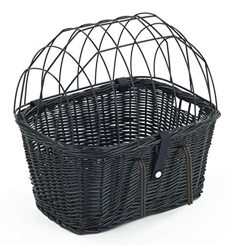 Tigana - Fahrradkorb aus Weide mit Gitter und Kissen für Lenker Schwarz (50 x 38 cm - (S-S))