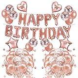57 piezas arco de globo de oro rosa, niña mujer feliz cumpleaños banner decoración juego de globos de papel de aluminio estrellas en forma de corazón globos de confeti con lentejuelas