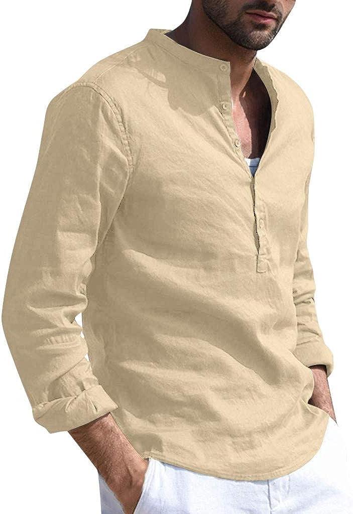 Mens V Neck Cotton Linen Hippie Shirts Long Sleeve Casual Henley T-Shirt Beach Tops