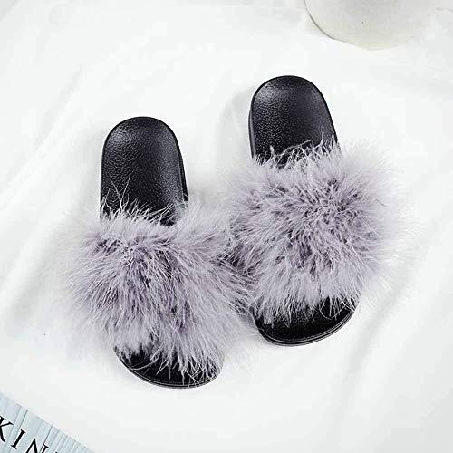Mode Faux Fur Sliders Open teen Platte sandalen Vrouwelijke harige indoor slippers Casual strand sandalen Pluizige pluche slipper schoenen