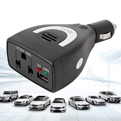 Auto-Wechselrichter, 75 W DC12V zu AC 100V-240V Auto-Wechselrichter Konverter USB-Ladegerät Adapter