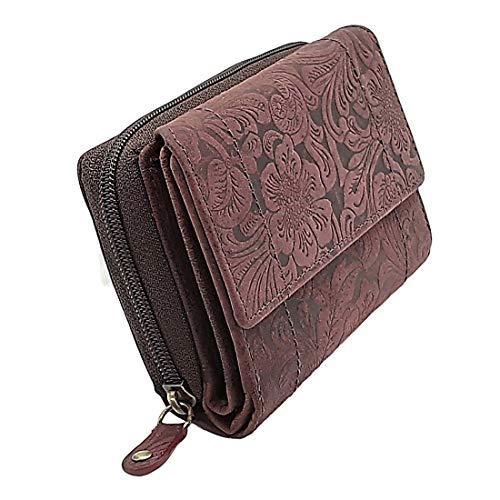 Echt Büffelleder Kompakt Portemonnaie Geldbörse oder Geldbeutel mit besonderes vielen Kreditkartenfächer in Dunkelviolett Farbe für Damen und Girls