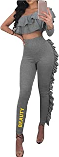 FSSE Womens Ruffle Long Sleeve Top & Letter Print Skinny Pants Jumpsuits Outfits