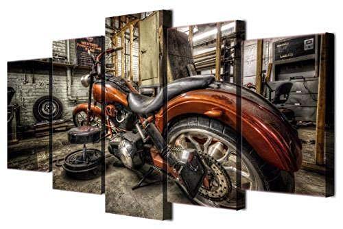 Yywife 5 Teile Bild Auf Leinwand Leinwandbilder Motorrad Chopper Wandkunst Tapete Dekorative Wandbild Für Wohnzimmer Home Decor 150 * 80 cm (Mit Rahmen)