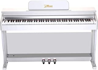 $499 » ZHRUNS Digital Piano, 88 Hammer Keys Electric Keyboard Piano for Beginner(Kids/Adults) w/Music Stand+Power Adapter+3 Metal Pedals+Instruction Book, 2 Headphone Jack/Midi/USB Audio Output (white)