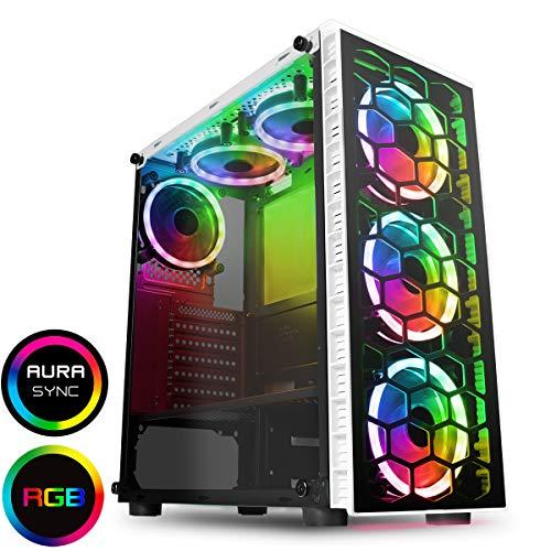 CiT Raider PC-Gaming-Gehäuse, Mid-Tower ATX Weiße sechs Ventilatoren
