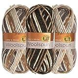 Lion Brand (3 Pack) Woolspun Acrylic & Wool Soft Quarry Print White Gray Yarn for Knitting Crocheting Bulky #5