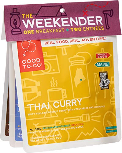 GOOD TO-GO Weekender 3-Pack Variety #1 | 2 Entrees + 1 Breakfast | Thai Curry, Granola, Mexican Quinoa Bowl | Dehydrated Backpacking and Camping Food | Gift Ideas | Easy to Prepare