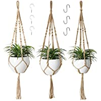 3-Pack Potey Macrame Hanging Planters with 6 Hooks