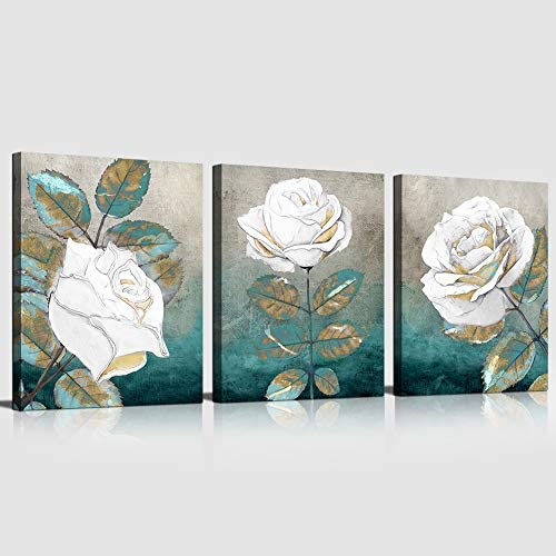 Canvas Wall Art Print Blue Leaf White Rose Canvas Art Painting teal Abstract Wall Art Decorations product image