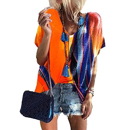 Mayntop Camiseta de verano para mujer con estampado de bloques de color, suelta, manga corta, mangas murciélago, cuello en V, blusa étnica, A-naranja., 36