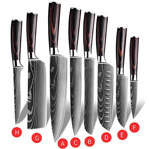 Küchenmesser, Scharfe Kochmesser aus Edelstahl in Mehreren Größen mit Bequemen Griff, Kochmesser Gegen Rost für die Küche/das Restaurant zu Hause (8pcs)
