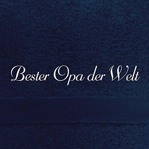 digital print Badehandtuch mit Namen Bester Opa der Welt Bestickt, 70x140 cm, dunkelblau, extra Flauschige 550 g/qm Baumwolle (100%), Handtuch mit Namen besticken, Badetuch mit Bestickung