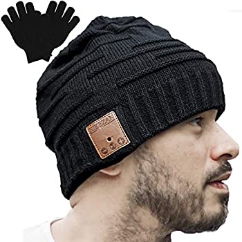Upgraded Unisex Knit Bluetooth Beanie Winter Music Hat w/Built-in Stereo Speaker Unique Christmas Tech Gag Gifts for Boyfriend/Him/Men/Teen Boys/Stocking Stuffers Friend Birthday
