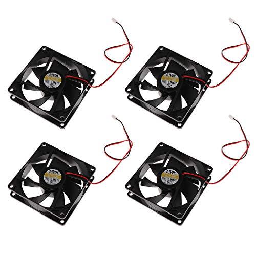H HILABEE Ventilador de Caja Estándar de 4 Piezas 80 Mm Enfriador de CPU de Velocidad Ventilador de Enfriamiento de Computadora de 80 Mm con Conector de 2