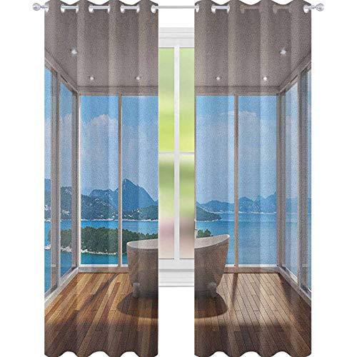 YUAZHOQI - Cortinas opacas de baño para dormitorio con diseño minimalista y relajante paisajes de las islas, cortina de reducción de ruido, 132 x 241 cm, color blanco, marrón pálido y azul