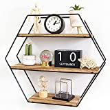 TFer Floating Shelves Cat Wall Mounted Hanging Shelf Hexagon Rustic Farmhouse Shelves for Wall Decor,Storage   Metal Bracket and Reclaimed Natural Wood Shelf for Living Room,Bedroom,Bathroom,Kitchen