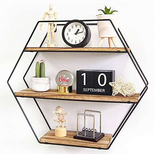 TFer Floating Shelves Cat Wall Mounted Hanging Shelf Hexagon Rustic Farmhouse Shelves for Wall Decor,Storage | Metal Bracket and Reclaimed Natural Wood Shelf for Living Room,Bedroom,Bathroom,Kitchen