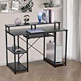 Sophia & William Home Office Computer Lap Desk with Storage Shelves, Ergonomic 46.5 Inch Large Executive PC Task Desk for Working Writing Gaming Studying, 46.5' Lx18.9 Wx34.4 H, Black
