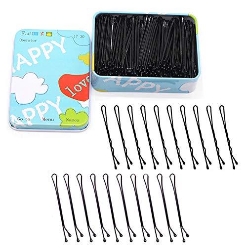 200 Stück Haarnadeln 5.5 cm Schwarzes Metall Wellenform Haarklammern für Mädchen und Frauen mit Aufbewahrungsbox (Schwarz)