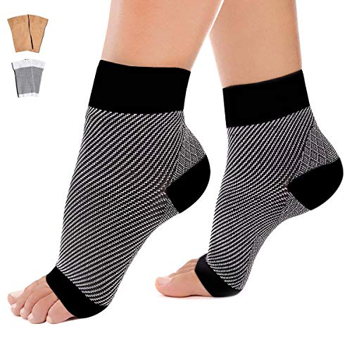 Plantar Fasciitis Socks Foot Sleeves - AAROND Foot Compression Sleeve With Arch Ankle Support for Men and Women Relieve Aching Feet,Heel & Flat Foot Pain,Prevent Foot Back Sprain & Strain(Gray,M)