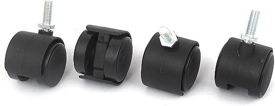 uxcell Office Chair Swivel Twin Wheel Caster M6x15mm Threaded Stem Black 4pcs