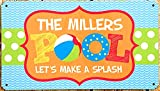 Vintage The Millers Pool Let's Make a Splash Metal Tin Sign 8x12 Inch Retro Home Kitchen Seaside Swimming Pool Outdoor Wall Decor New