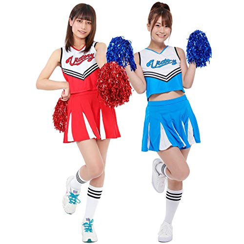 【 ポンポン付き 】monoii チアガール コスプレ チアリーダー 衣装 チア 仮装 コスチューム d735