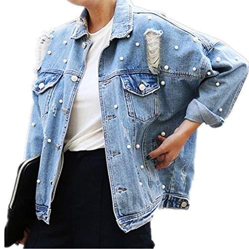 DICZYFW Giacca di Jeans Strappata con Perline Strappate Donna Vintage Monopetto Manica Lunga Jean Giacche E Cappotti Taglie Forti