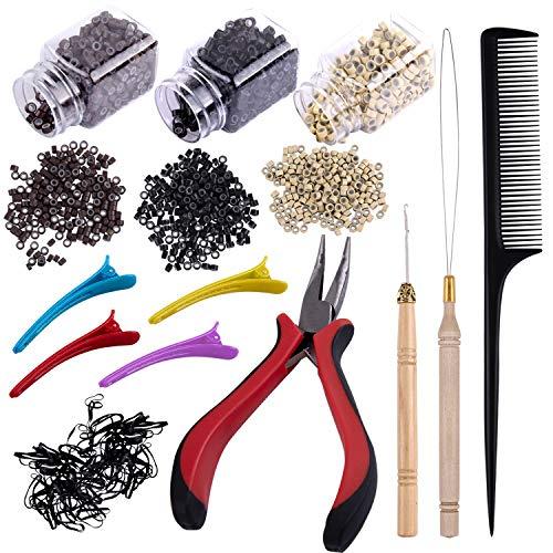 Duufin Microring Set mit 1500 Stück Microringe für Extensions und 2 Stück Microring Nadel 1 Stück Microring Zange für Haarverlängerung 1 Stück Kamm 4 Stück Haarspange und Mini Haargummis
