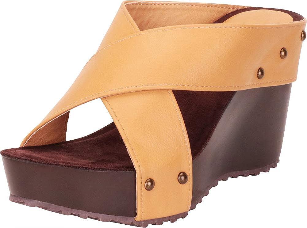 Cambridge Select Women's Open Toe Crisscross Chunky Platform Wedge Slide Sandal