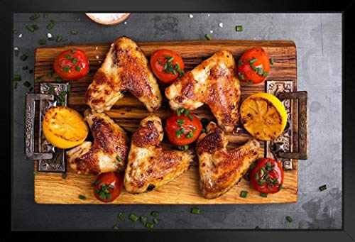 Roast Chicken Wings on Cutting Board Lemon Tomato Photo Photograph Art Print Stand or Hang Wood Frame Display Poster Print 13x9