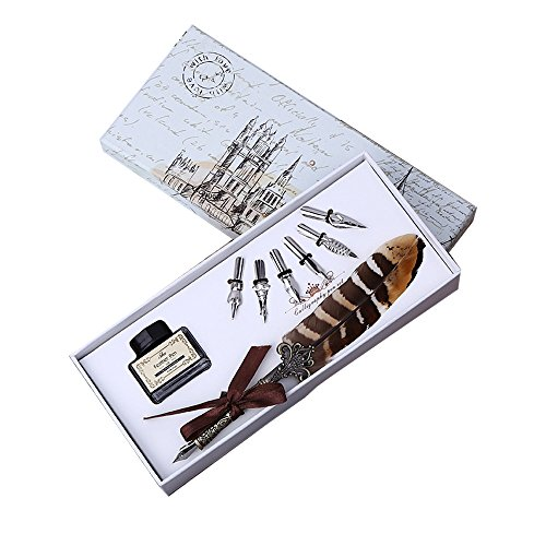 Calligraphy Pen Set Writing Quill Pen 6 Nibs and Ink,Antique Dip Feather Pen Gift Set for Beginners Birthday Gift,Beautiful Vintage Signature Pen