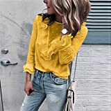 Camisa De Mujer Feitong Blusa Blanca Primavera Verano Volantes Damas Casual Encaje Polka Dot O Cuello Camisa De Manga Larga Blusas Mujer-Yellow_XXL