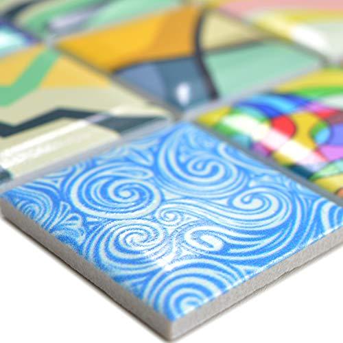 Keramik Mosaikfliesen Achilles Popartoptik Bunt | Wandverkleidung Badfliesen Bad Mosaikstein Natursteinfliesen Fußbodenfliesen Dekorative Fliesen Dekor