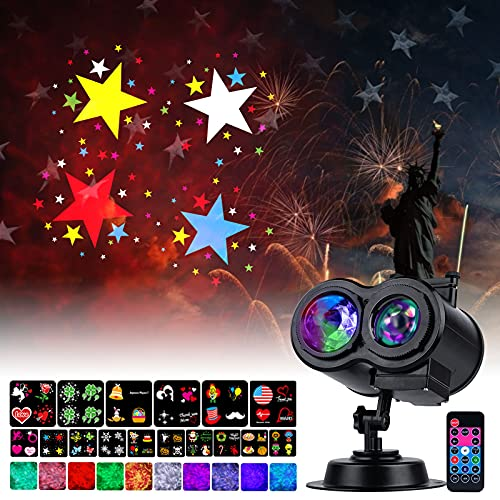 Holiday Projector Lights Outdoor 26 HD Effects (3D Ocean Wave & Patterns) Waterproof with RF Remote Control Timer for Easter Indoor Night Gathering Disco Party Independence Day, RGB + Multicolor