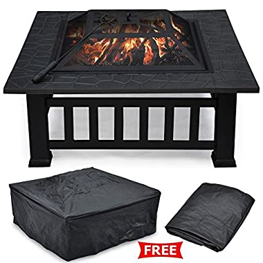 Yaheetech 32  Outdoor Metal Firepit Backyard Patio Garden Square Stove Wood Burning Fire Pit with Cover