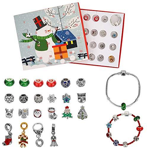 Colmanda Kinder Schmuck Armband Weihnachten Geschenk DIY Halskette Adventskalender Handgemacht Geflochten Einstellbar Armband für Mädchen (Armband und Halskette) (3)