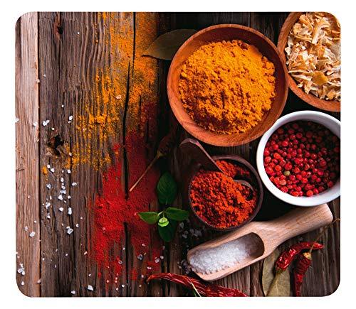 WENKO Crédence de cuisine en verre Epices - Protège-plaque pour plaques de cuisson vitrocéramiques et induction, planche à découper, Verre trempé, 56 x 50 cm, Multicolore