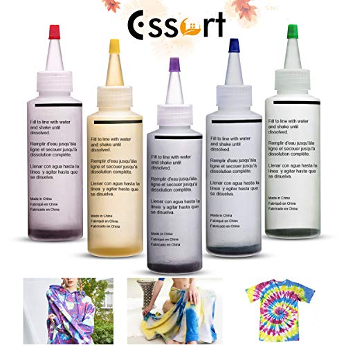 ESSORT Tie Dye Kit, 5 Colors Fabric Textile Shirts Paints, Vibrant Bright Colors Tie Dye Designs Clothing, Permanent Paint for Clothes Shirt Dress Homemade DIY Patterns Party Fun Activity