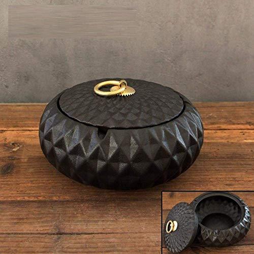 W-SHTAO L-WSWS Cenicero para interior con tapa, cenicero de cerámica antimosca con tapa con personalidad creativa para el hogar, sala de estar, matrimonio, cenicero