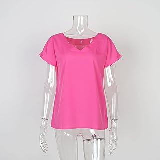 Wxcgbdx Womens T Shirts, T-shirt Women's V-neck Batwing Short-sleeved Split Solid Color Blouse Women's Loose T-shirt (Colo...