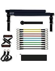 Sfeexun Pilates Bar Kit, Pilates Reformer Uitrusting Pilates Toning Bar, Weerstandsband met Voetbanden Deuranker voor Volledige Lichaamsbeweging