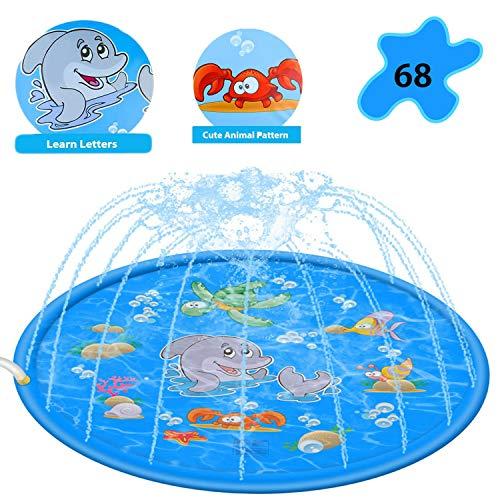 JIASHA Splash Pad Wasserspielzeug Spielmatte Outdoor Garten Splash Spielmatte für Baby Party Sprinkler und Splash Play Matte 170CM