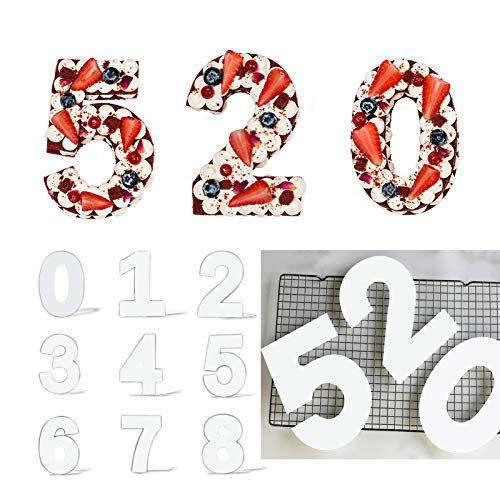 MUYULIN 12 Inch Number Cake Molds for Baking, 0-9 Number Flat Plastic Stencils for DIY Cake,Wedding Birthday Anniversary,Age Number Cake Chocolate Tools,Gummy Molds,Easy to Use and Clean Up(MJ09)