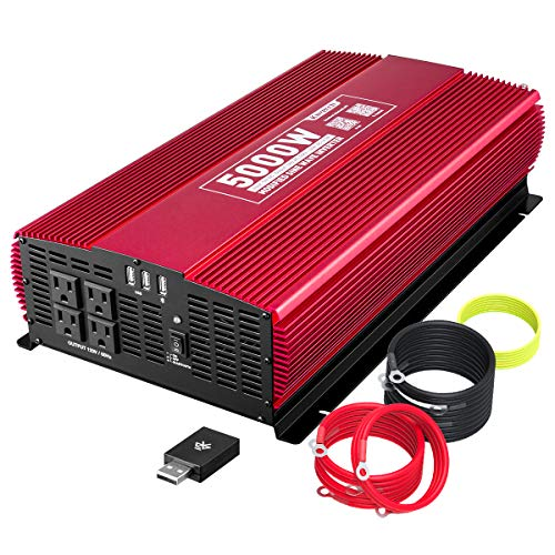 KINVERCH 5000 Watts Power Inverter 12V to 110V, Modified Sine Wave Car Inverter, Dual 110 Volt AC Outlets, Hardwire Kit, DC to AC Converter with Bluetooth APP Remote Control