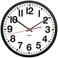 Tempus TC6236RF Contemporary Commercial Wall Clock with Frame and Quartz Movement, 13, Black