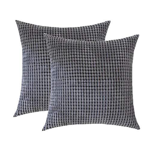 Toruiwa - 2 fundas de cojín (40 x 40 cm, terciopelo, decorativas, funda de almohada para decoración del hogar, dormitorio, salón, oficina, color beige 40 x 40 cm), gris, 45 x 45 cm