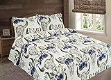 Floral Flowers Steer Skull Skeleton Quilt Rustic Western Bedspread Comforter Bedding 3 Piece Set (Oversized Queen)